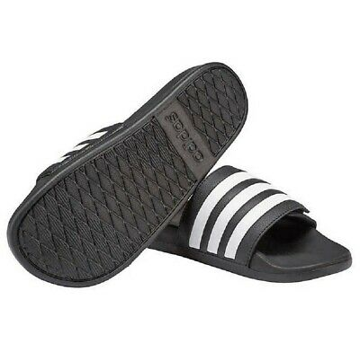 NEW - Adidas Men's Adilette Slides Sandals Slide Slip-On Black White - 10