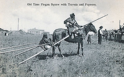c1907 Native American Piegan Squaw with Travois and Papoose Photo Postcard