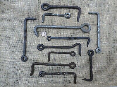 Antique gate hooks lot - old blacksmith wrought iron steel large collection