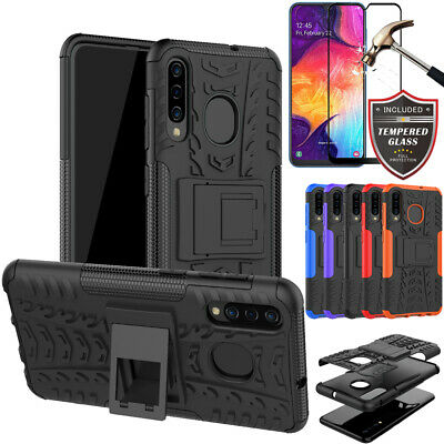 For Samsung Galaxy A70 A50 A30 A20 A10 e s M10 Shockproof Case+Tempered Glass