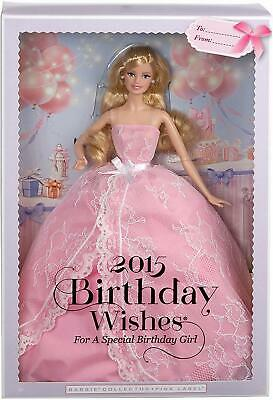 New Mattel - Barbie Collection Pink Label 2015 Birthday Wishes Doll Cfg03