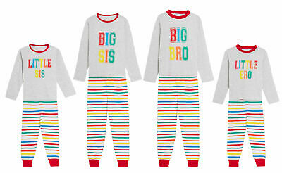 Boys Girls Kids Matching Family Pyjamas Big Bro Little Sis Brother Sister Pjs