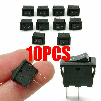 NEW 10Pcs 10x15mm SPST ON/OFF Switch Mini Black 2 Pin Rocker Switch DC 12V 16A