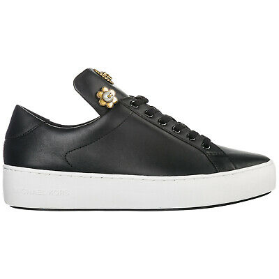 Michael Kors Scarpe Sneakers Donna In Pelle Nuove Mindy Nero 2C6