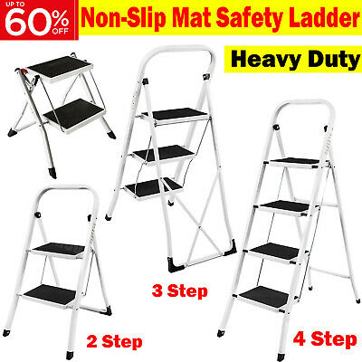 Folding 2 3 4 Step Ladder Safety Non Slip Mat Tread Small Stool Ladders Kitchen