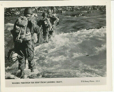 WWII 1944 US Army D-Day Normandy Invasion Photo GIs wade thru surf from LCT