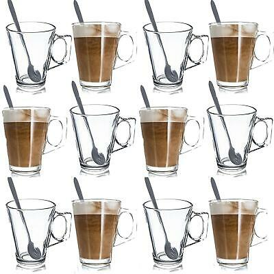 240Ml Latte Glasses Tea Coffee Cappuccino Glass Cups Hot Drink Mugs With Spoons