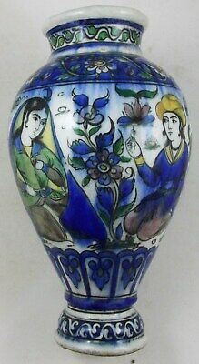 QAJAR,19th c,UNDERGLAZE PAINTED POTTERY VASE,WITH 4 PEOPLE AND FLORAL DECORATION