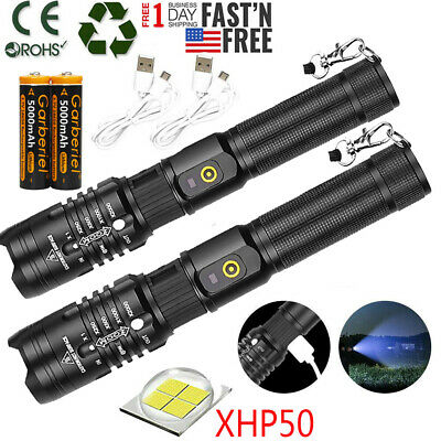XHP50 Flashlight Zoomable 900000LM USB Rechargeable 18650 Torch Super Bright USA