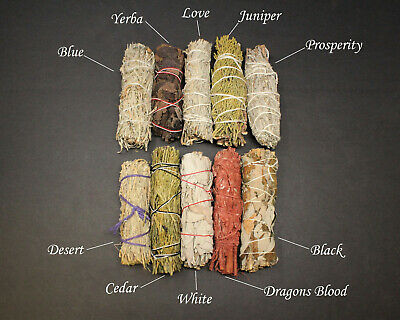 SET of 10 Sage Smudge SAMPLER: White, Black, Blue, Cedar, Dragon, Yerba, + MORE