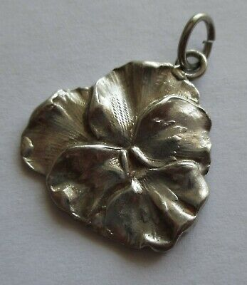VTG ART NOUVEAU PANSY FLOWER PENDANT or LARGE CHARM SILVER PLATED