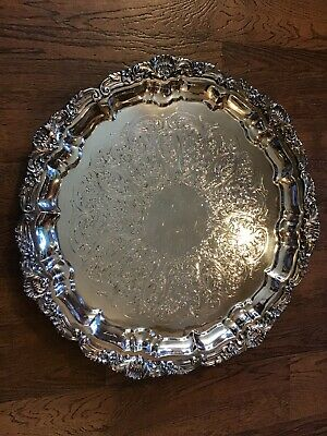 """Nice Vintage Poole Silverplate 14"""" FOOTED Fancy Serving Tray"""