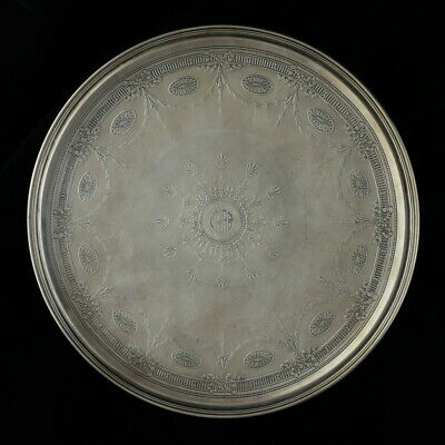 """Tiffany & Co Floral Cake Plate - Sterling Silver 18793A 5998 Monogrammed 10.75"""""""