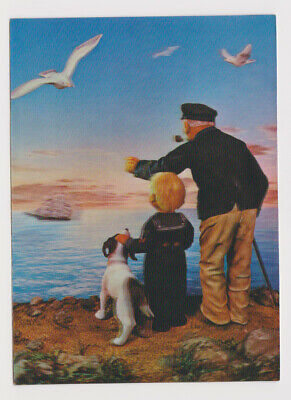 Vintage Japan Lenticular 3D Postcard Boy and Old Man facing the Sea (57379)