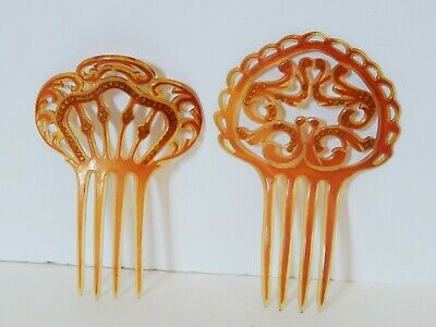 2 Antique Vintage Hair Combs Celluloid with Rhinestones