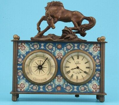 Retro Chinese Copper Glass Table Horologe Statue Horse Mascot Home Decoration