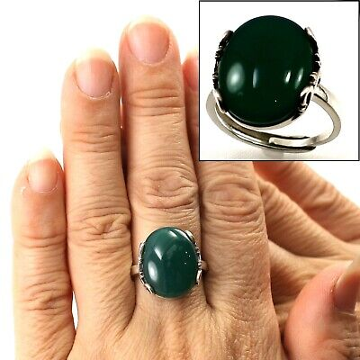 Beautiful 5x18mm Cabochon Green Jade Ring set in 925 Solid Sterling Silver TPJ