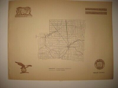 Antique 1920 Shelby County Sidney Ohio Road Highway Map Railroad Detailed Fine