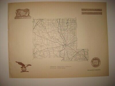 Antique 1920 Pickaway County Circleville Ohio Road Highway Map Railroad Detailed