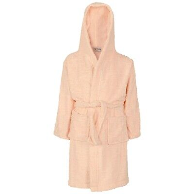 Kids Girls Pink Bathrobe Cotton Soft Terry Hooded Luxury Dressing Gown 2-13 Year