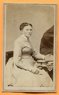 CDV Boston, MA, Portrait of a Young Woman, ID'd by Loomis, circa 1860s Backstamp