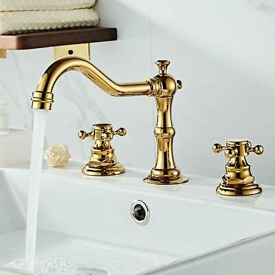 Gold Painting Widespread Bathroom Faucet 3 Hole Two Handle Deck Mounted Faucet