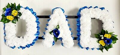 DAD Artificial Silk Funeral Tribute Any 3 Letter Name Flower Wreath MUM SON NAN
