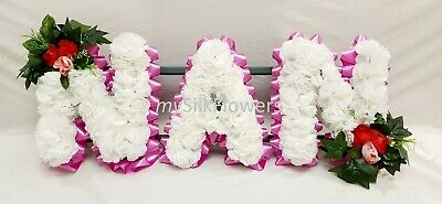 NAN Artificial Silk Funeral Tribute Any 3 Letter Name Flower Wreath MUM SON DAD