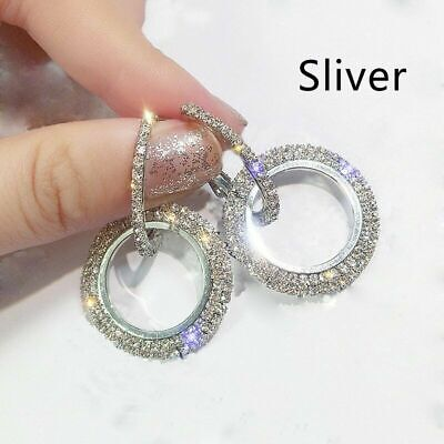925Silver Rose Gold Crystal Round Hoop Earrings Women Jewellery Party Wedding V