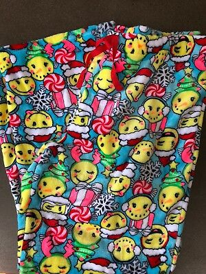 Girls Justice 14 16 Plus Christmas Emoji 😀 Fleece Pajama Pants Fleece NEW NWT