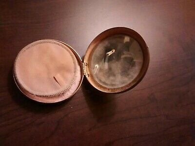 Vintage Antique Three Flowers Cosmetic Powder Compact Brass Mirrored Box ~2.5""