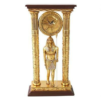 Grand Temple of Amun Horus Falcon Headed God Egyptian Column Clock Sculpture