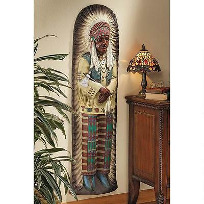 Native American Indian Chief Tobacco Cigar Store Indian Wall Sculpture NEW