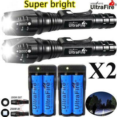 1000000LM T6 LED Rechargeable High Power Torch Flashlight Lamps Light + Charger