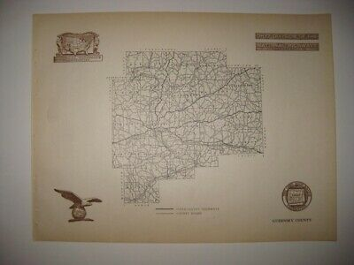 Antique 1920 Guernsey County Ohio Road Highway Map Railroad Detailed Rare Nr