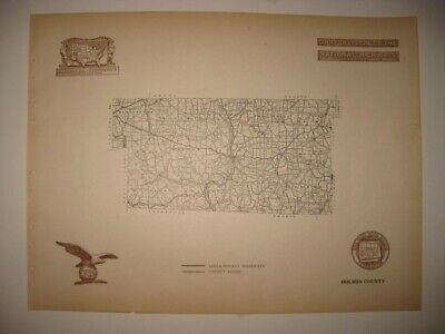 Antique 1920 Holmes County Millersburg Ohio Road Highway Map Railroad Detailed