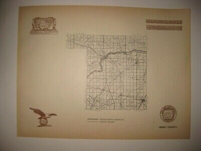 Antique 1920 Henry County Napoleon Ohio Road Highway Map Railroad Detailed Rare
