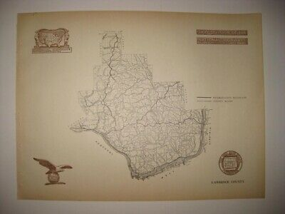 Antique 1920 Lawrence County Ironton Ohio Road Highway Map Railroad Detailed Nr