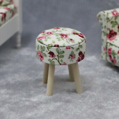 AM_ 1:12 Dollhouse Miniature Wooden Stool Chair Furniture Kids Pretend Play Toy