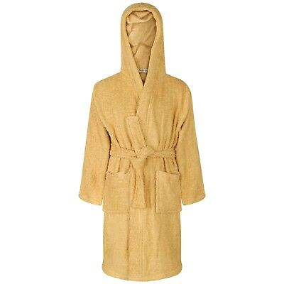Kids Girls Cotton Soft Terry Stone Hooded Bathrobe Luxury Dressing Gown 2-13 Yrs