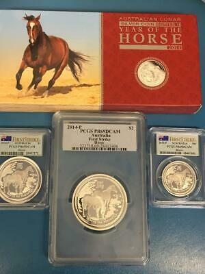 Australia 2014 Proof Silver Year Horse PCGS 3 coin set First Strike PR69DCAM