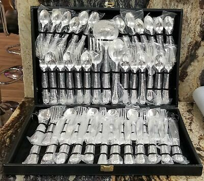 WM Rogers & Sons Silver Plated Flatware Enchanted Rose Serving Set 52 Piece