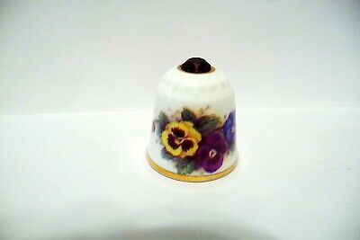 Thimble Sutherland China England Colorful Pansies W/Purple Crystal On Top Beauty