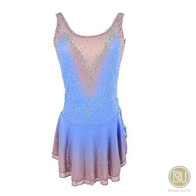 Figure Skating Dress Light Blue Ombre Skin Tone Color with Rhinestones