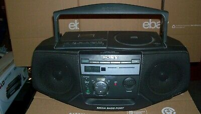 Sony Cfd-V25 Cd Radio Cassette Mega Bass Port Player Portable Boombox Works