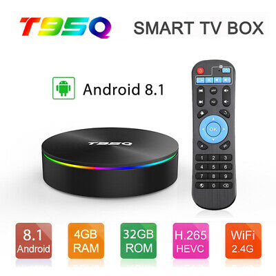 T95Q TV Box Android 8.1 4+64GB Quad Core WIFI BT 3D 4K USB HDMI Media Player US
