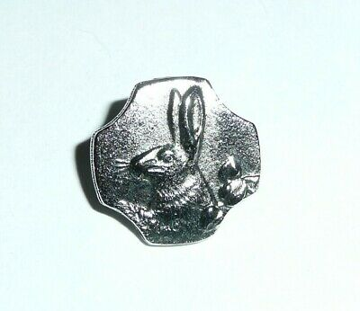 Adorable Antique Reproduction Pewter Bunny Rabbit Metal Shank Button 5/8""