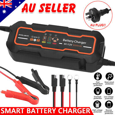 12V/6V 5A AGM Battery Charger Car Motorbike Deep Cycle SLA MF Automatic