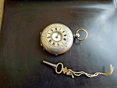 Antique Small Silver Half Hunter Pocket Watch WORKING WELL WITH KEY