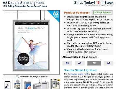 LED Lightbox hanging sign double sided A2 size